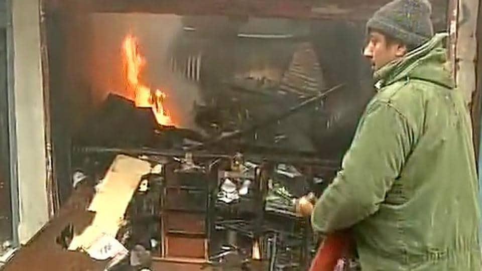 Fire in Srinagar,PNB Bank,Vijaya Bank