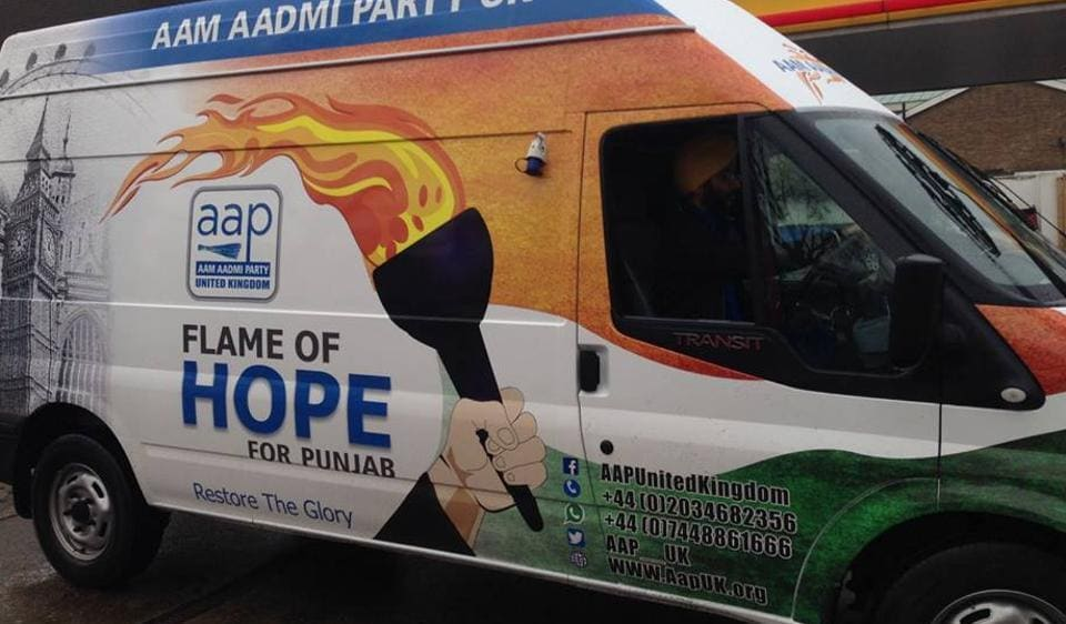 """The Aam Aadmi Party aims to raise Rs 50 lakh through its """"Flame of Hope"""" campaign  in Britain."""