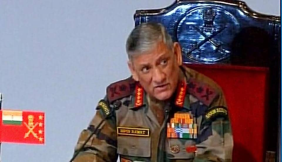 Army chief Bipin Rawat addresses a press conference in Delhi.