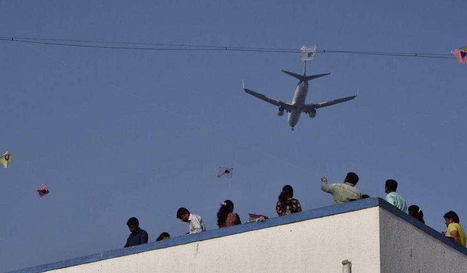 Kites flown from Rishikul School's terrace in Ghatkopar  on the day before Makar Shankrati on Friday.