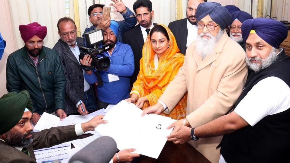 Accompanied by son Sukhbir Badal and daughterinlaw Harsimrat Kaur, chief minister Parkash Singh Badal filing nomination papers from Lambi constituency in Malout on Thursday.