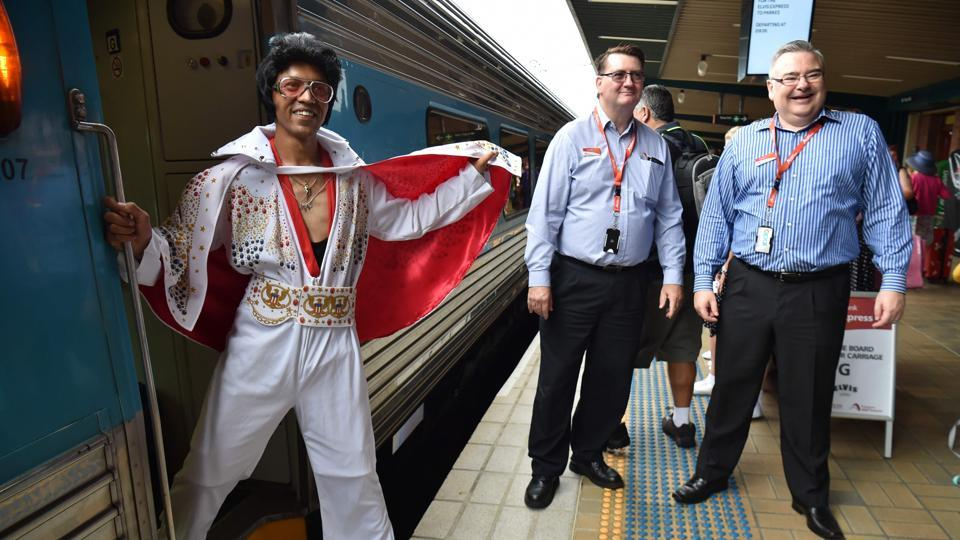 Elvis fans board a train to take them to The Parkes Elvis Festival from Sydney. (AFP)