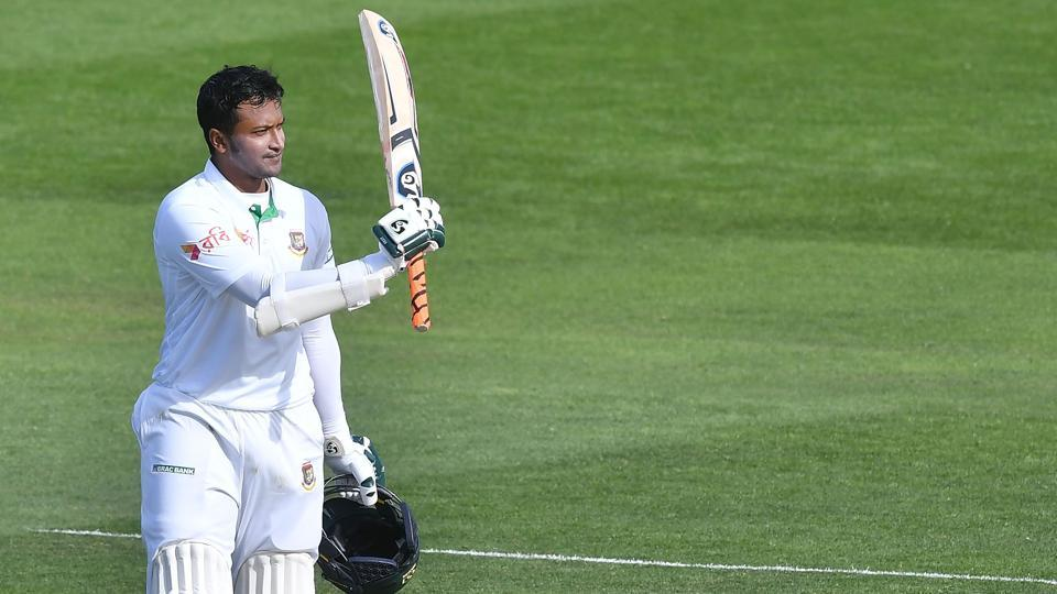 Bangladesh's Shakib Al Hasan celebrates his double century on Day Two of the Test against New Zealand at the Basin Reserve in Wellington on Friday.