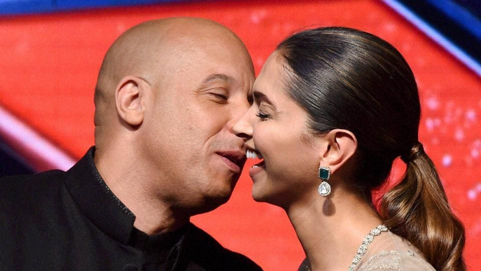 Vin Diesel with Deepika Padukone during a press conference to promote their upcoming film XXX : Return of Xander Cage in Mumbai on Thursday.