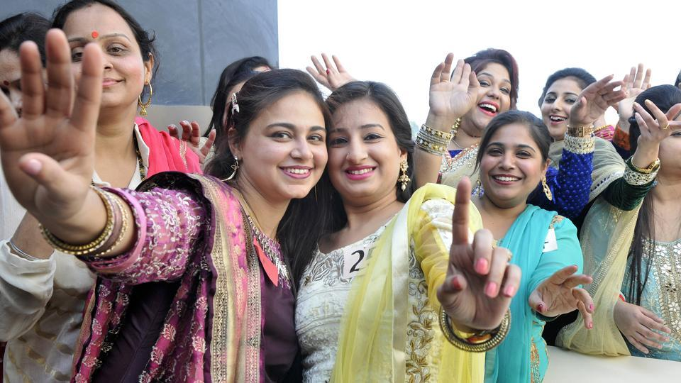 Women celebrating Lohri in a function in Ludhiana on Thursday.