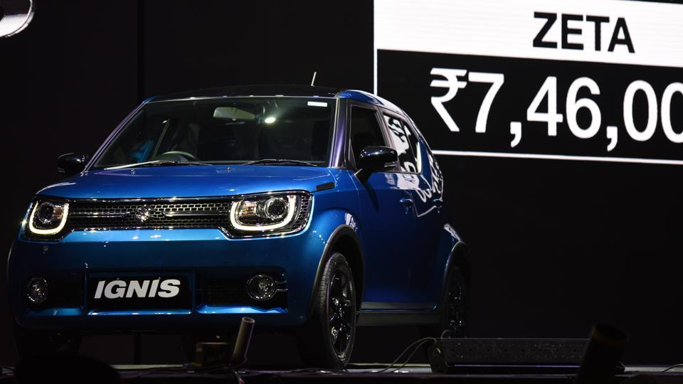 Maruti Suzuki Ignis, the much awaited compact crossover has been launched today at a starting price of Rs 4.59 lakh (ex-showroom, Delhi) and it will be offered with a 1.2-litre petrol engine and a 1.3-litre diesel engine, in New Delhi, India, on Friday, January 13, 2017. (Virendra Singh Gosain/HT PHOTO)