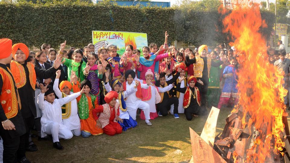 Students celebrating Lohri in Punjab.