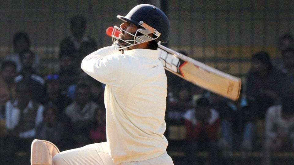 Indore : Abhishek Nayar of Mumbai plays a shot against Gujarat during Ranji trophy final in Indore on Friday. PTI Photo (PTI1_13_2017_000236B)