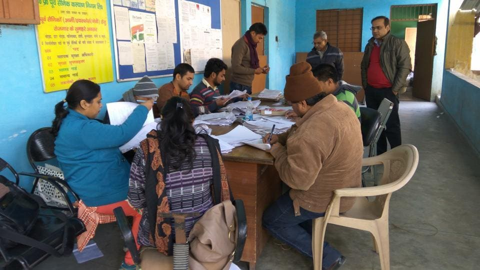 Voters' list being updated in the city magistrate's office in Sector 19.