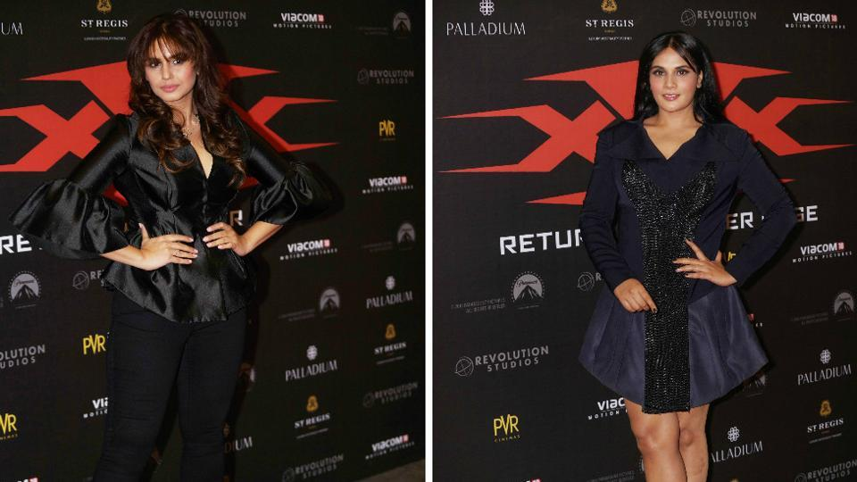 Actors Huma Qureshi and Richa Chadda show support for Bollywood's very own Deepika and Vin Diesel. (Prodip Guha/HT PHOTO)