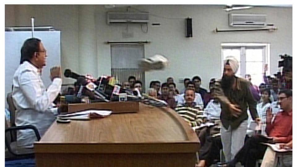 A journalist throws his shoe at India's Home Minister P Chidambaram during a news conference in New Delhi in this combo picture made from two video frame grabs from ANI TV taken and released in 2009. In 2017, the journalist is fighting the assembly polls in Punjab on an Aam Aadmi Party ticket and taking on chief minister Parkash Singh Badal, who was the victim of a shoe-throwing incident on Wednesday.