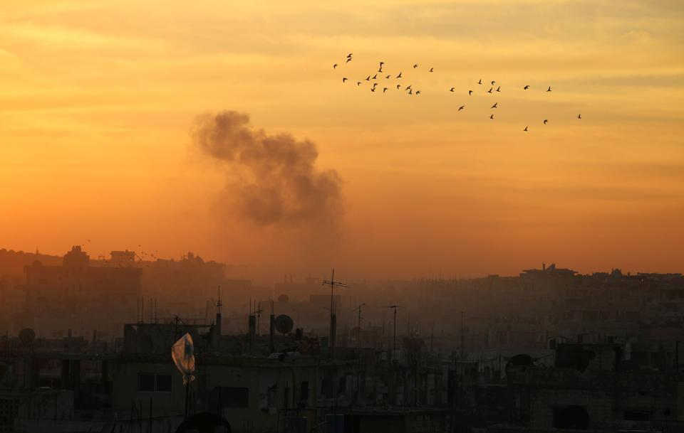 Syria said that Israel fired rockets at a military airport west of Damascus.