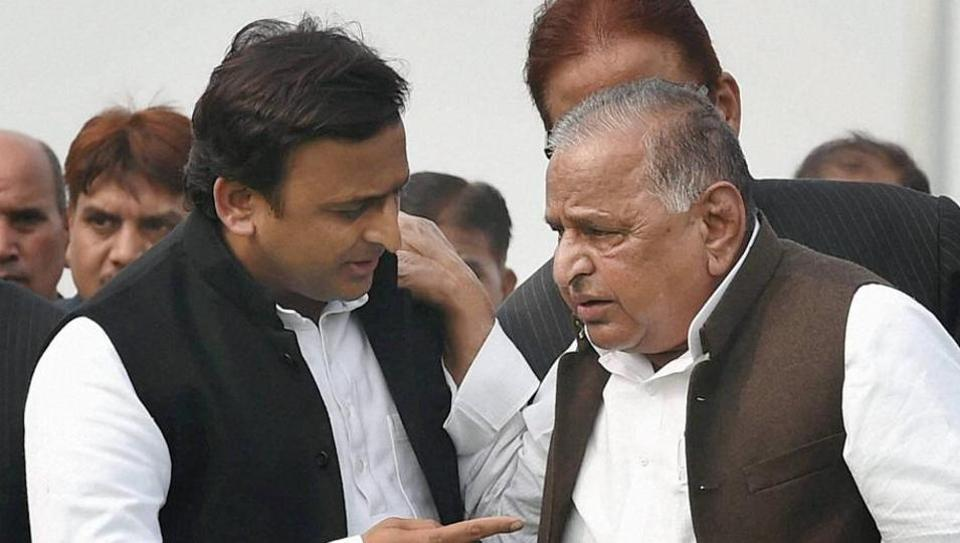 Samajwadi Party patriarch Mulayam Singh Yadav with chief minister Akhilesh Yadav during at a function in Lucknow on Thursday.