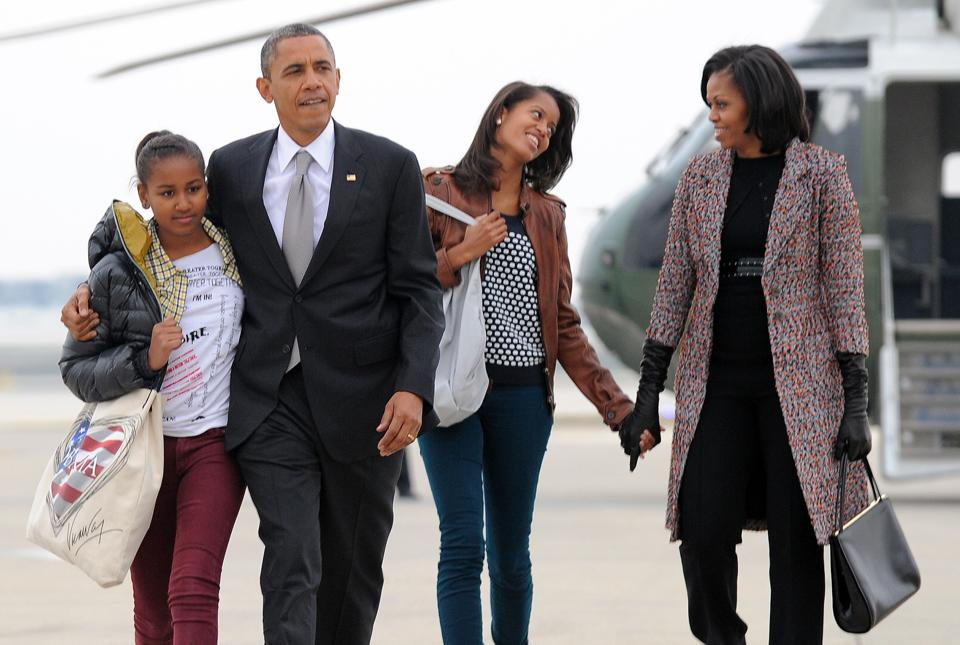 Malia Obama, 18, is taking a gap year after graduating high school, before she enrols next year at Harvard College, while younger sister Sasha, 15, has another couple of years of high school ahead.
