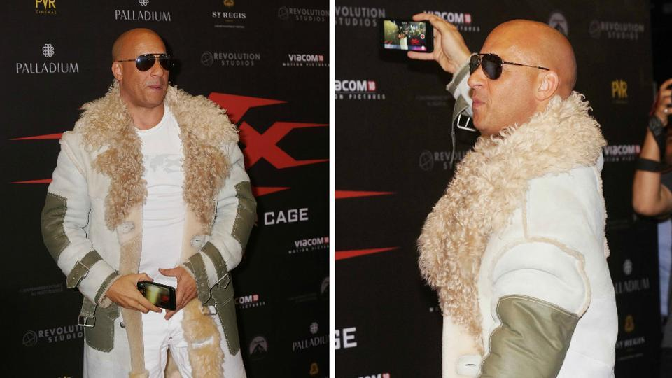 Vin Diesel captures moments from the India promotion of xXx: Return of Xander Cage in Mumbai. (Prodip Guha/HT PHOTO)