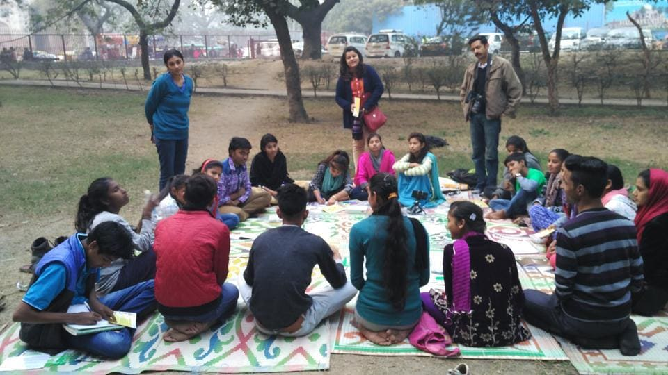The participants in Samvidhan LIVE — The Jagrik Project or jagriks, as they are called, during one of the many tasks.