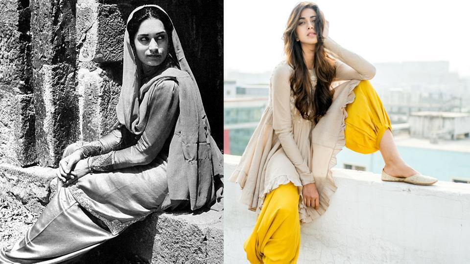 A woman in 1940s Punjab in the traditional version of a salwar kameez (L) A woman models a salwar kameez-inspired chic  ensemble in 2017 (R)