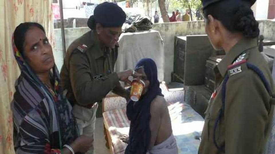 The police team found the woman lying in a pitiable condition in shackles under a makeshift tin shed screened by a flimsy cloth instead of a door.