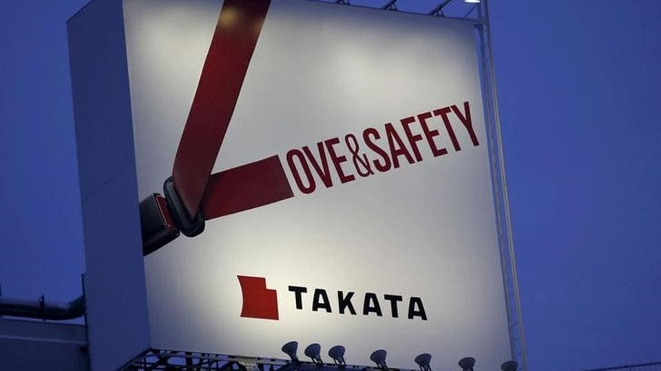 A file photo of a billboard advertisement of Takata Corp is pictured in Tokyo.
