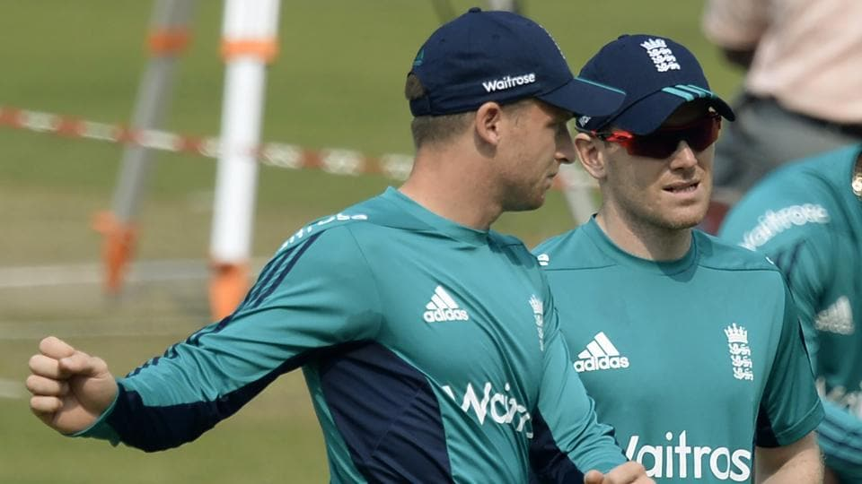 Eoin Morgan and Jos Buttler interact during the training session. (AFP)