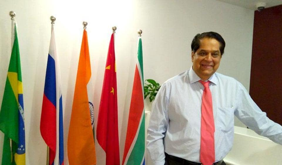 KV Kamath, the chief of the New Development Bank set up by the BRICS, at his office in the financial district of Shanghai.