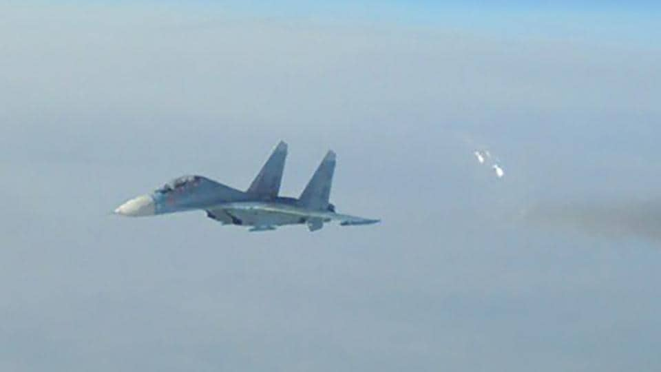 A French Mirage aircraft in the Baltic aerial space.