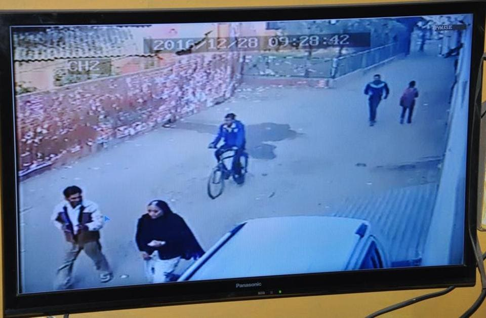 A CCTV grab of a woman being stalked by criminals in Gurgaon.