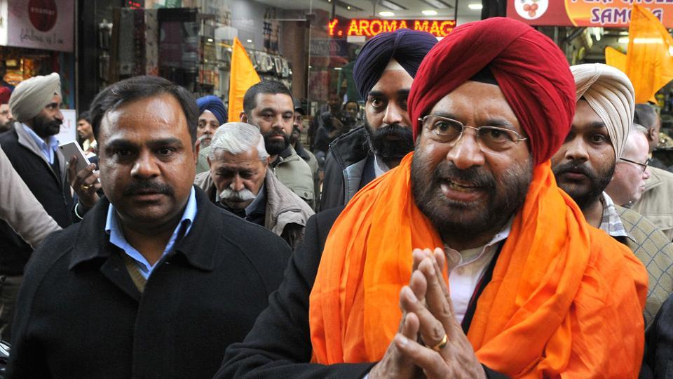 SAD candidate General JJ Singh (retd) campaigning in Patiala on Friday.