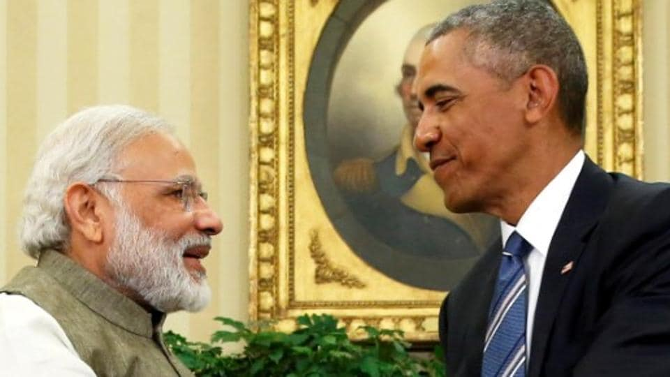 Outgoing US President Barack Obama (right) shakes hands with Prime Minister Narendra Modi at the White House