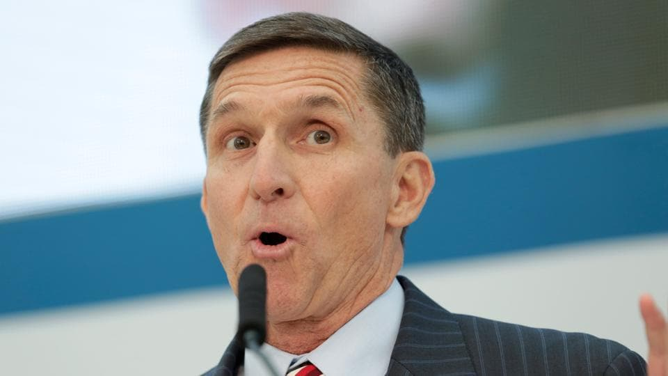 Former Defense Intelligence Agency director retired Army Lt. Gen. Michael Flynn, incoming White House national security adviser, speaks at the US Institute of Peace