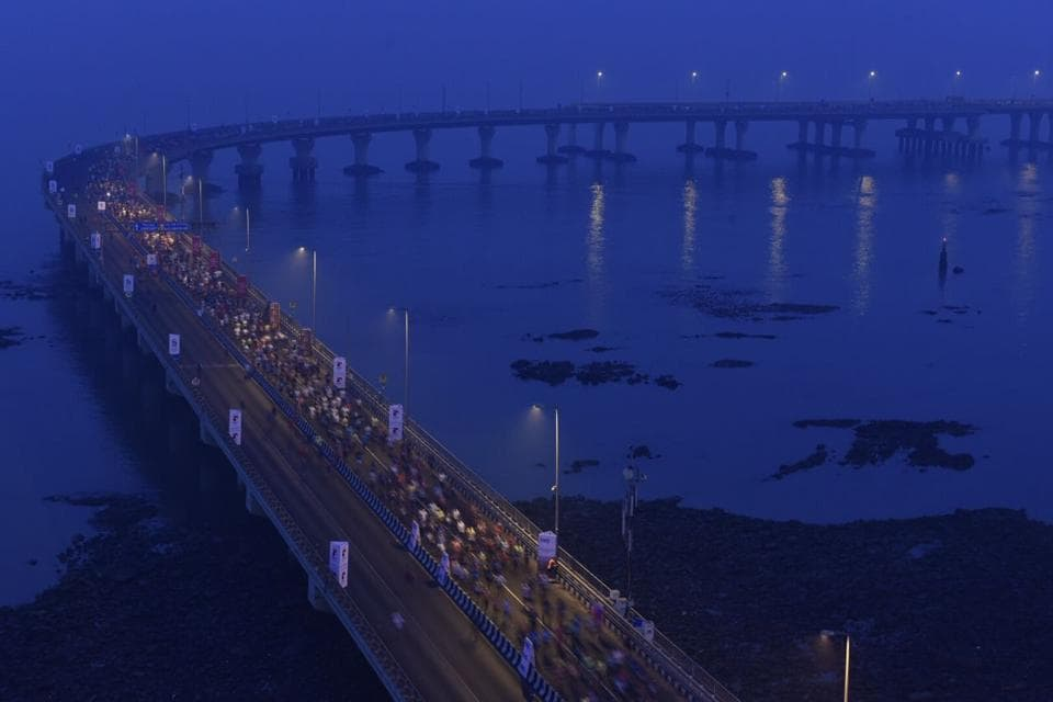 Runners participate in the 14th edition of the Mumbai marathon.