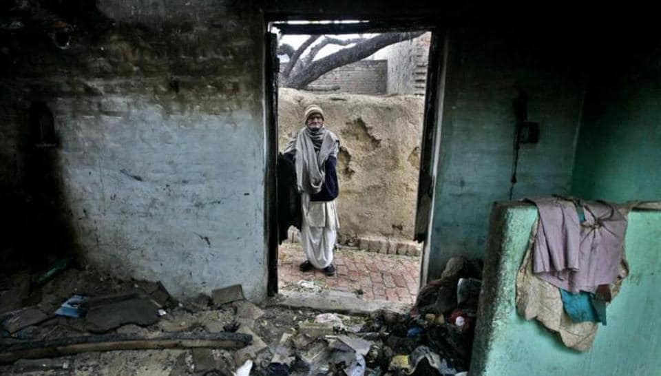A dalit's house in Daulatpur village here was burnt down on Saturday evening because he did not say 'Ram Ram ' to an upper caste (Thakur) man of the village