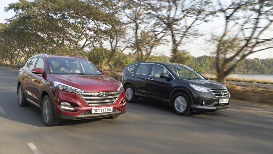 Honda Cr V Vs Hyundai Tucson Comparison Taking The Rough With The