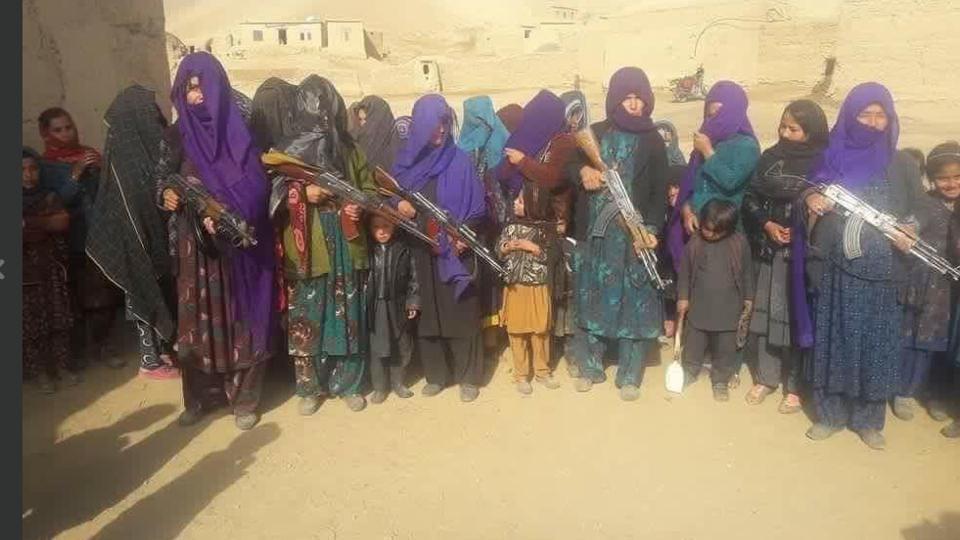 Women holding guns in Jawzjan province in northern Afghanistan.