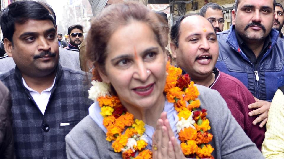 Congress leader Dr Navjot Kaur Sidhu in  Amritsar on Sunday.