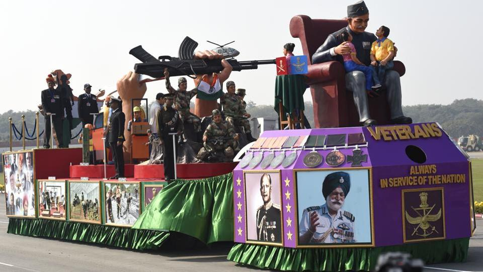 A tableau on display at the Army Day parade in New Delhi on Sunday.  (Arvind Yadav/HT PHOTO)