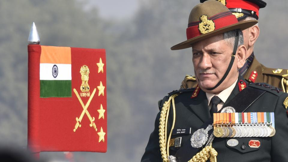 Army Chief General Bipin Rawat inspects the guard of honour at 'Army Day' parade at Delhi Cantt in New Delhi on Sunday.  (Arvind Yadav/HT PHOTO)
