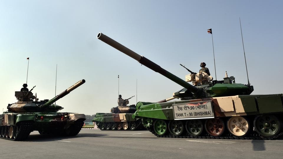 Army's T-90 (Bhishma) tank on display at the Army Day parade in New Delhi on Sunday.   (Arvind Yadav/HT PHOTO)