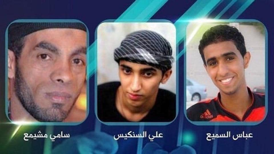 This undated photo released by Bahrain Center for Human Rights, from left to right, shows Sami Mushaima, Ali Al-Singace and Abbas Al-Samea, who were convicted guilty in deadly police bombing and executed this morning in Bahrain.