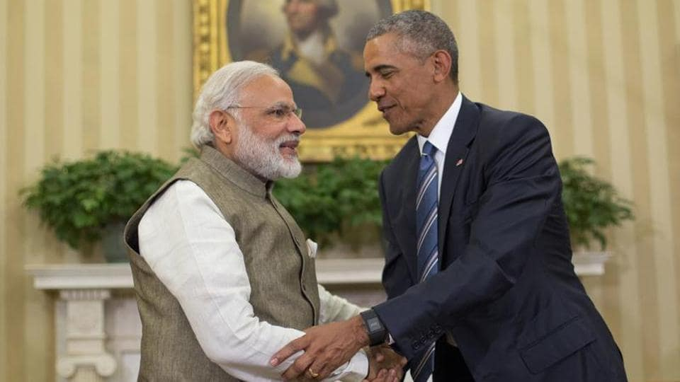 US President Barack Obama and Indian Prime Minister Narendra Modi shaking hands before their meeting in the Oval Office of the White House in Washington in June 2016.