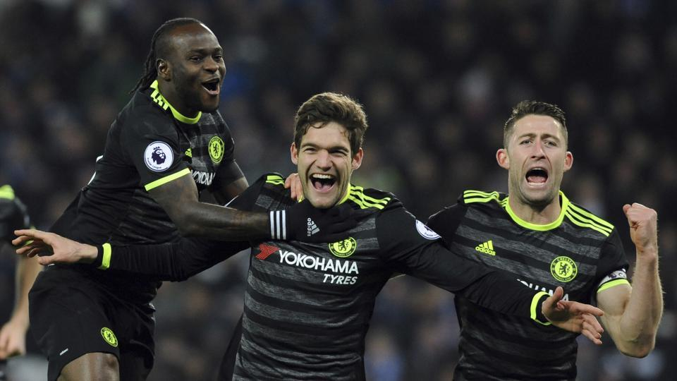 Chelsea F.C.'s Marcos Alonso ( centre) celebrates scoring his second goal during the English Premier League match against Leicester City at the King Power Stadium in Leicester on Saturday.