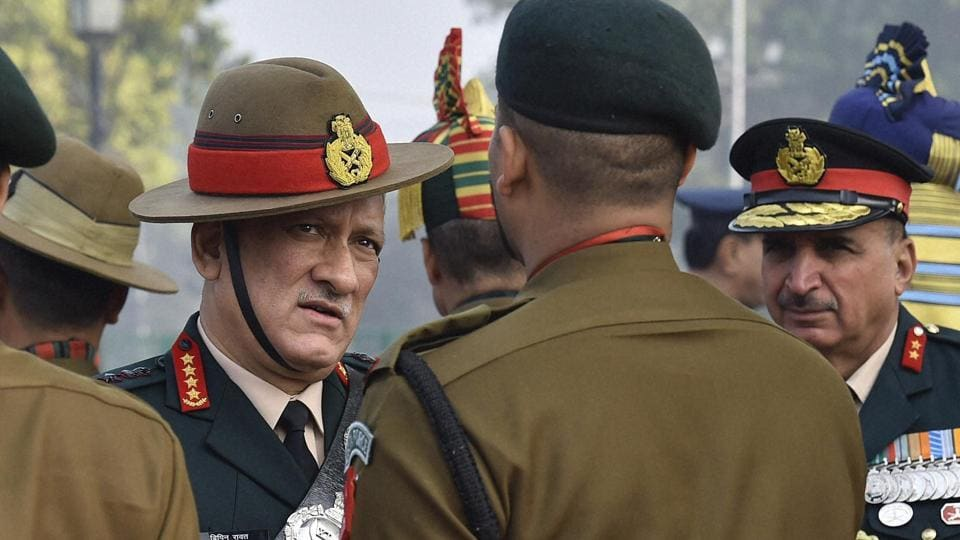 Chief of the Army Staff General Bipin Rawat meets soldiers after paying homage at Amar Jawan Jyoti at India Gate on the occasion of Army Day.