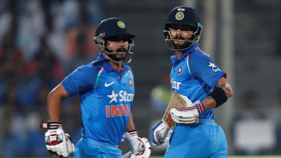 Kedar Jadhav (left) struck his second ODI century and put on a 200-run partnership with new limited-overs skipper Virat Kohli (right) in the first one-dayer in Pune on Sunday.