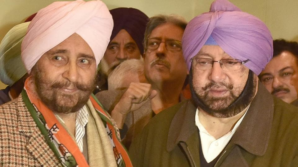 Punjab Congress chief Captain Amarinder Singh with  Dr Daljit Singh in Amritsar on Saturday.