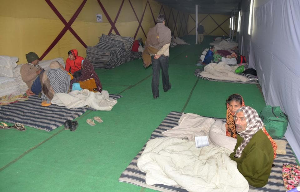 Homeless people at a night shelter near the SMS Hospital in Jaipur.
