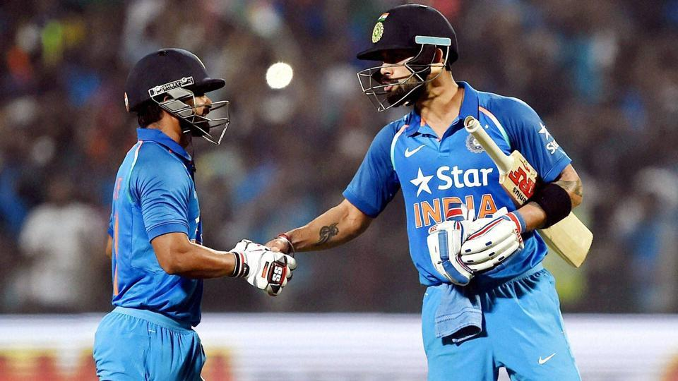 India skipper Virat Kohli led from the front in his first ODI after being confirmed limited-overs skipper. He found a perfect ally in Kedar Jadhav (left). Both batsmen struck centuries to rein in the 351-run target set by England in the first ODI in Pune on Sunday.