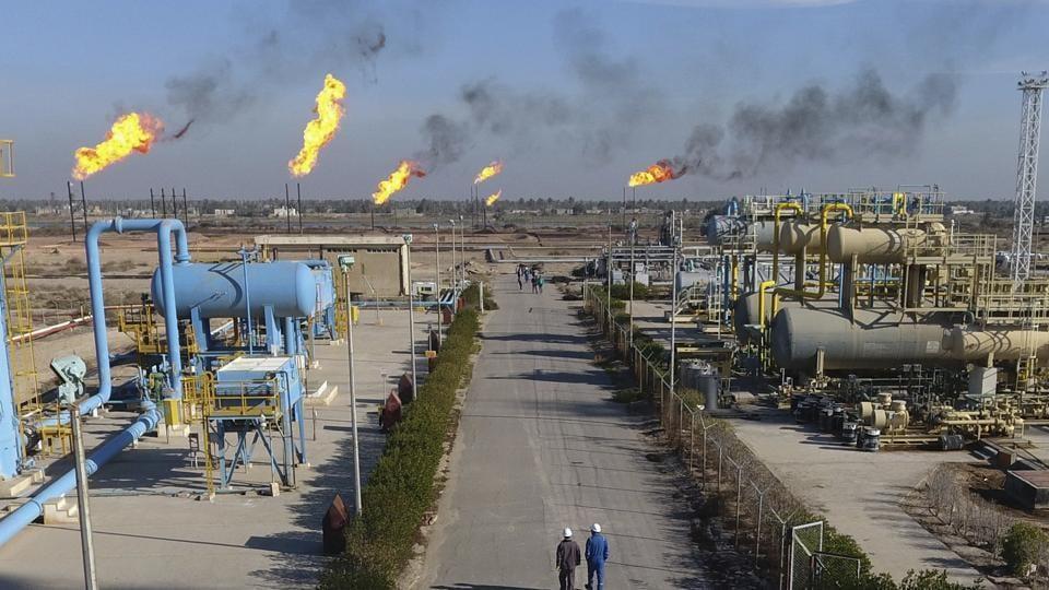 Flames seen in an oil field in Iraq.
