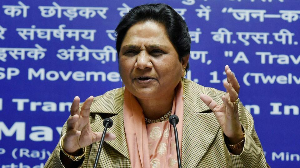 Bahujan Samaj Party (BSP) supremo Mayawati addresses a press conference on her 61st birthday in Lucknow on Sunday.