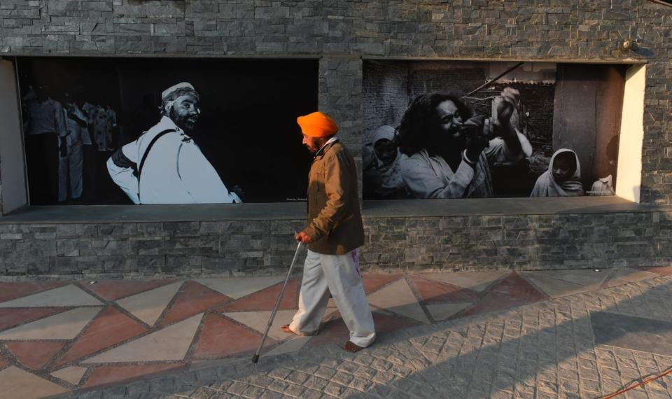 A man at Wall of Truth — a memorial for 1984 antiSikh riot victims on the premises of Gurdwara Rakabganj Sahib — in New Delhi on Sunday.