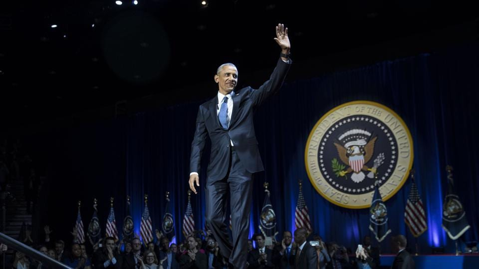 President Barack Obama arrives on stage to deliver his farewell address at McCormick Place in Chicago.